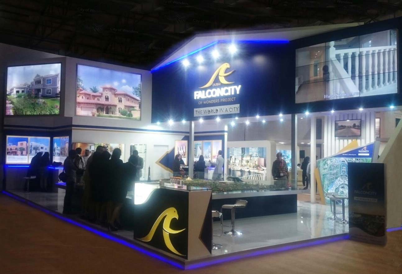 Real Estate Exhibition Stall Design : Custom exhibition stall for falconcity in dubai property show