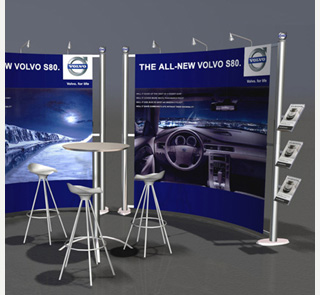Backdrop design for exhibition stall